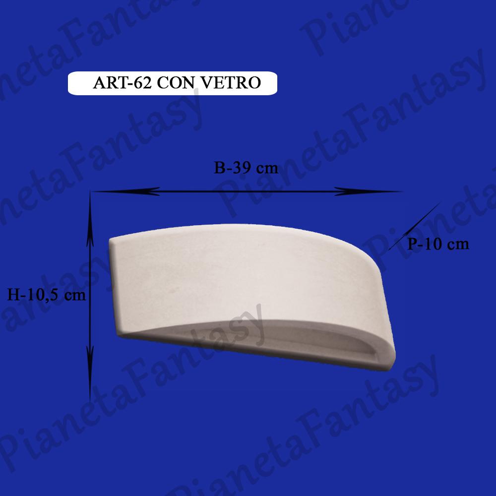 Applique art 62 da parete con vetro in gesso ceramico - Applique in gesso da parete ...