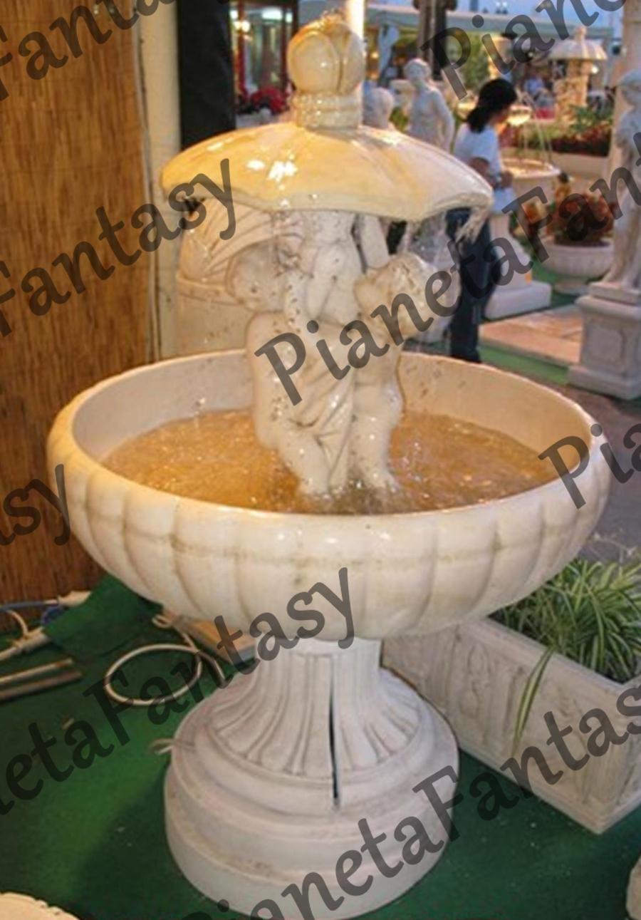 Fontana Art 0312 Putti Con Ombrello In Cemento No Pietra Arredo