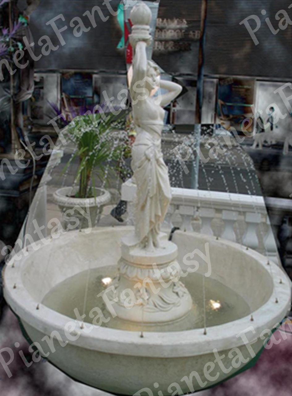 Fontana art 3303 bocciardata con statua in cemento no pietra arredo giardini e ville - Fontana in pietra da giardino ...