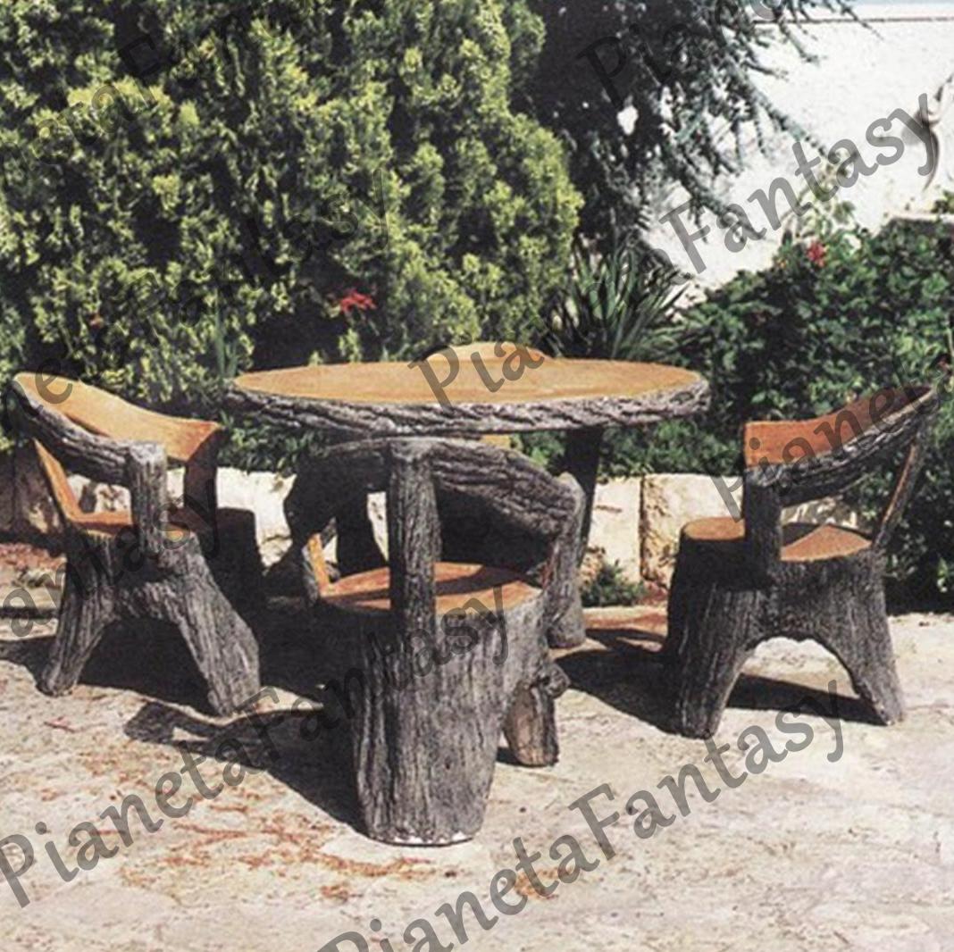 Tavoli Da Giardino In Cemento.Tavolo Art 1310 Finto Legno Tondo In Cemento No Pietra