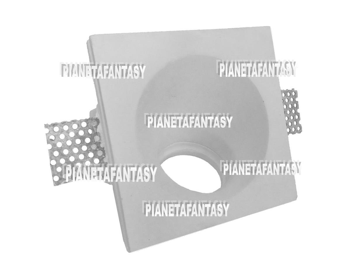 Faretti Incasso Di Gesso porta faretto art-pf17 quadrato con angolo di 45° e interno tondo in gesso  ceramico per lampadine led